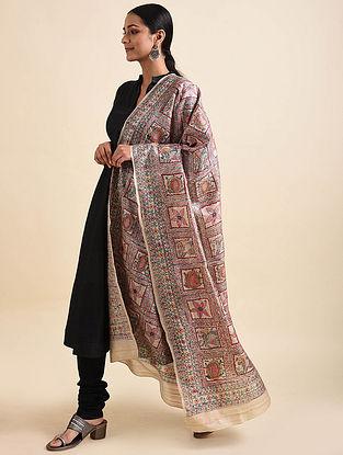 Multicolored Madhubani Hand Painted Tussar Silk Dupatta