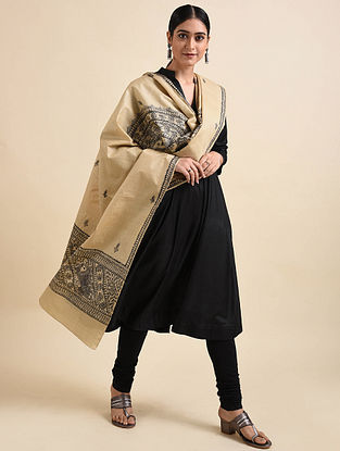 Beige-Black Madhubani Hand Painted Tussar Silk Cotton Dupatta