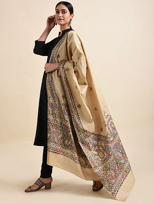 Beige Madhubani Hand Painted Tussar Silk Cotton Dupatta