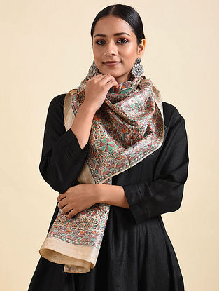 Multicolored Madhubani Hand Painted Tussar Silk Stole