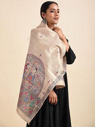 Beige Madhubani Hand Painted Tussar Silk Stole
