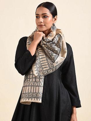 Beige-Black Madhubani Hand Painted Tussar Silk Stole