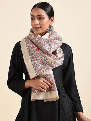 Multicolored Madhubani Hand Painted Ghicha Tussar Silk Stole