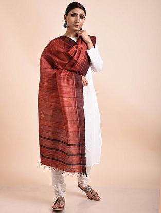 Red Handwoven Tussar Ghicha Silk Dupatta
