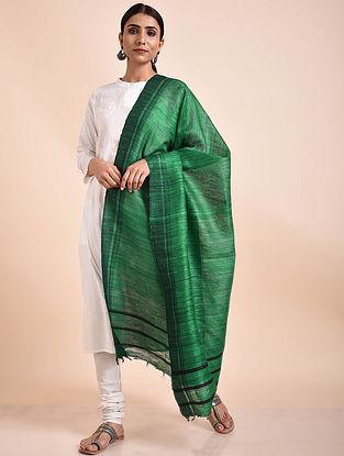 Green Handwoven Tussar Ghicha Silk Dupatta