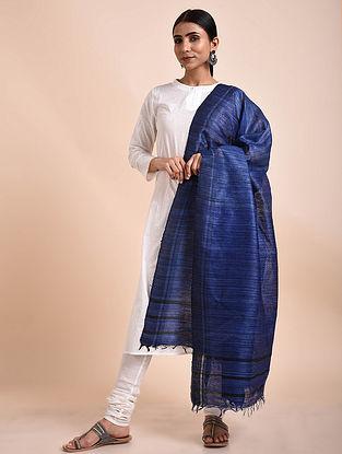 Royal Blue Handwoven Tussar Ghicha Silk Dupatta