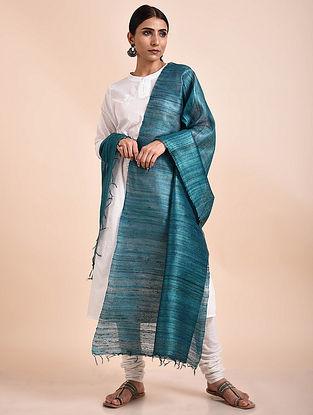 Teal Blue Handwoven Tussar Ghicha Silk Dupatta