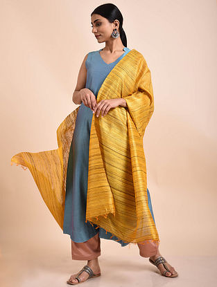 Yellow Handwoven Tussar Ghicha Silk Dupatta