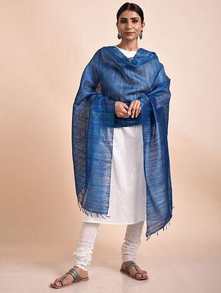 Blue Handwoven Tussar Ghicha Silk Dupatta