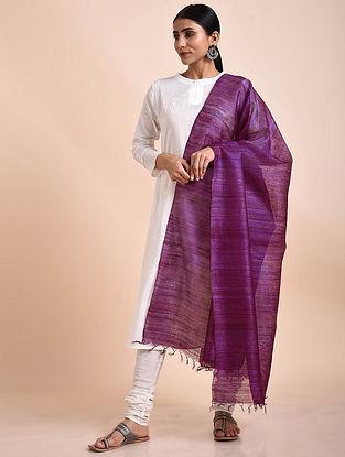 Purple Handwoven Tussar Ghicha Silk Dupatta