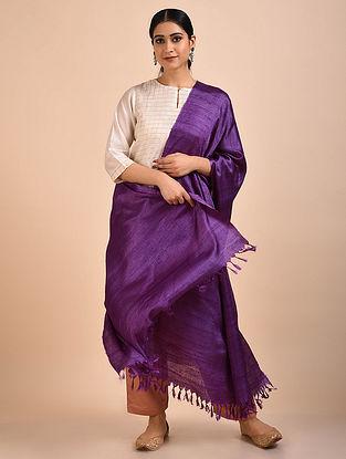 Purple Handwoven Banana Ghicha Silk Dupatta