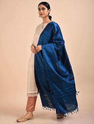 Royal Blue Handwoven Banana Ghicha Silk Dupatta
