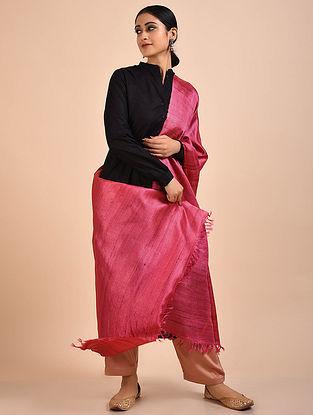 Pink Handwoven Banana Ghicha Silk Dupatta