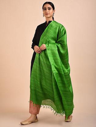 Green Handwoven Banana Ghicha Silk Dupatta