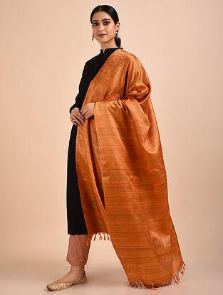 Orange Handwoven Banana Ghicha Silk Dupatta