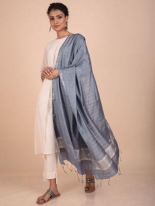 Grey Handwoven Kota Silk Dupatta