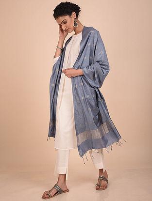 Steel Blue Handwoven Kota Silk Dupatta