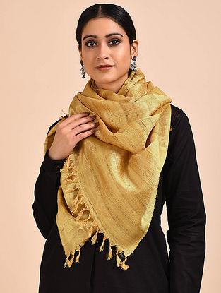 Beige Handwoven Banana Ghicha Silk Stole