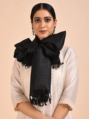 Black Handwoven Banana Ghicha Silk Stole