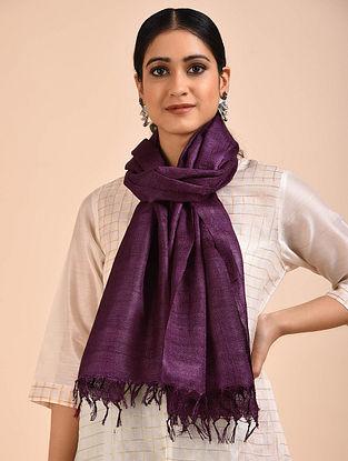 Purple Handwoven Banana Ghicha Silk Stole