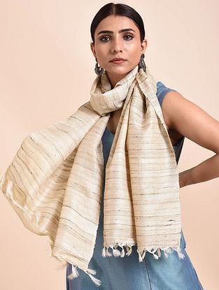 Beige Handwoven Tussar Ghicha Silk Stole