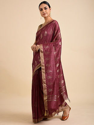 Berry Handwoven Kota Silk Saree