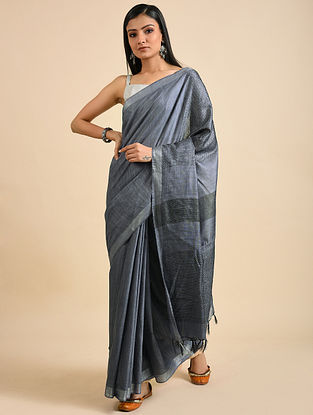Grey Handwoven Kota Silk and Cotton Saree