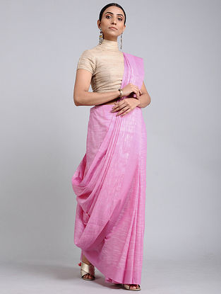 Pink Handwoven Cotton Saree with Tassels