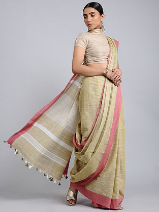 Beige-Pink Handwoven Cotton Saree with Tassels
