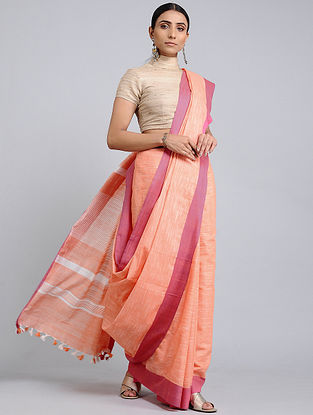 Peach-Pink Handwoven Cotton Saree with Tassels