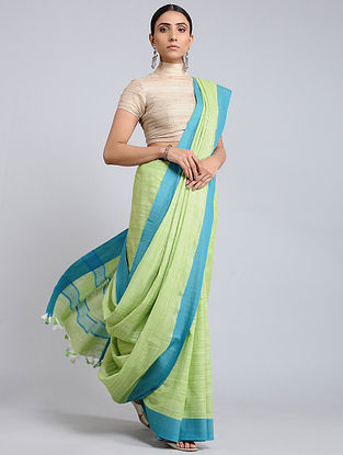 Green Handwoven Cotton Saree with Tassels