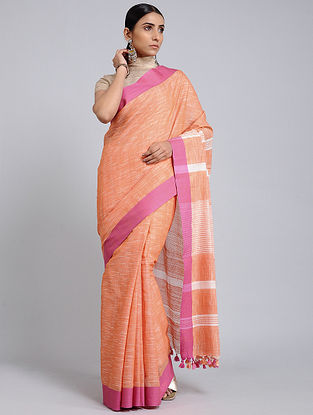 Orange-Pink Handwoven Cotton Saree with Tassels