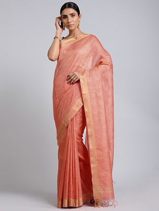 Pink Handwoven Kota Silk and Linen Dobby Saree with Zari Border