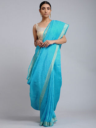 Blue Handwoven Kota Silk and Linen Dobby Saree with Zari Border