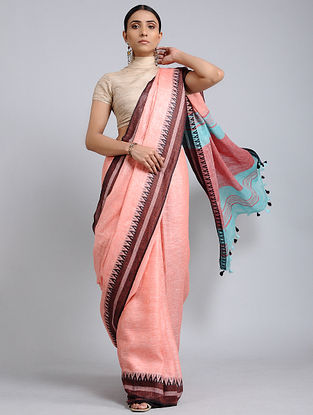 Pink-Maroon Handwoven Linen saree with Tassels