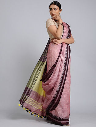 Pink-Yellow Handwoven Linen saree