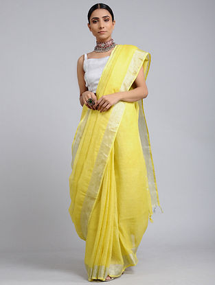 Yellow Handwoven Linen Saree with Zari Border