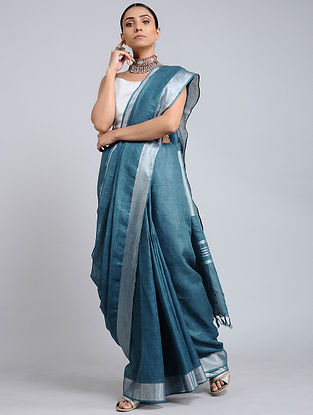 Blue Handwoven Linen Saree with Zari Border