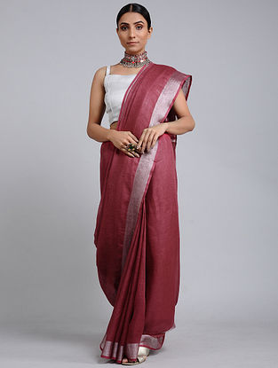 Maroon Handwoven Linen Saree with Zari Border