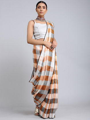 Brown-Peach Handwoven Linen Check saree