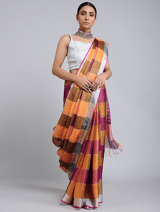 Orange-Pink Handwoven Linen Check saree