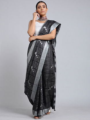 Black-Grey Handwoven Linen Check Saree