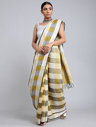 Yellow-Ivory Handwoven Linen Check Saree