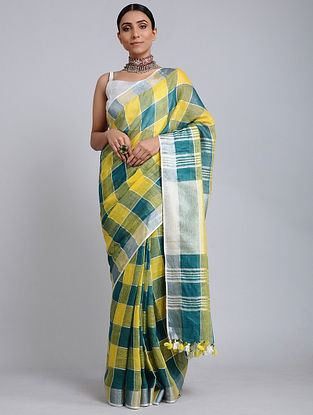 Yellow-Blue Handwoven Linen Check Saree with Zari Border