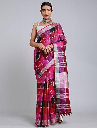 Pink-Black Handwoven Linen Check Saree with Zari Border