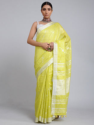 Yellow Green Handwoven Linen Saree with Zari Border
