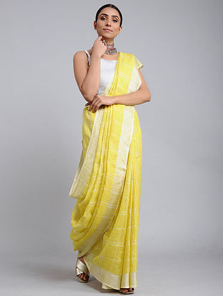 Yellow Handwoven Linen Check Saree with Zari Border