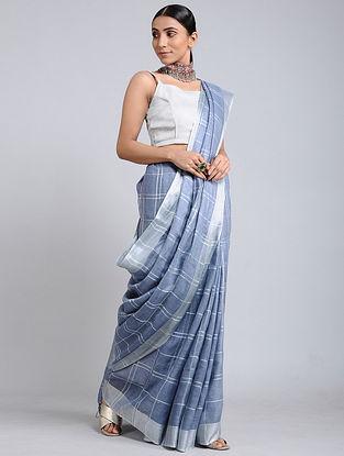 Blue Handwoven Linen Saree with Zari Border