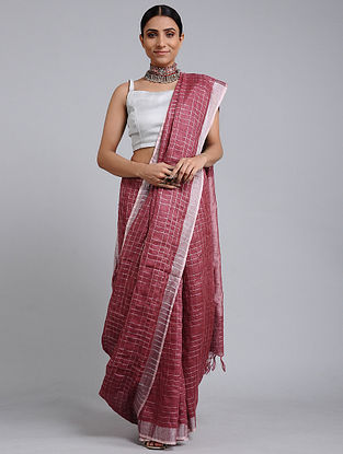 Red Handwoven Linen Check Saree with Zari Border