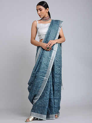 Blue Handwoven Linen Check Saree with Zari Border